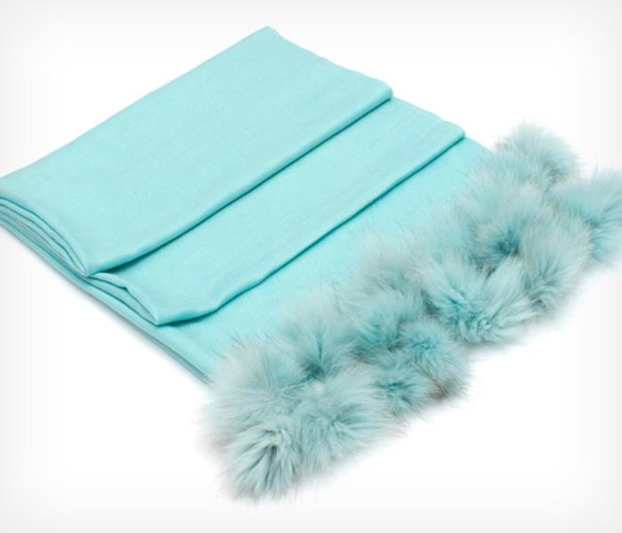 Turquoise-Fur-Pom-Pom-Scarf