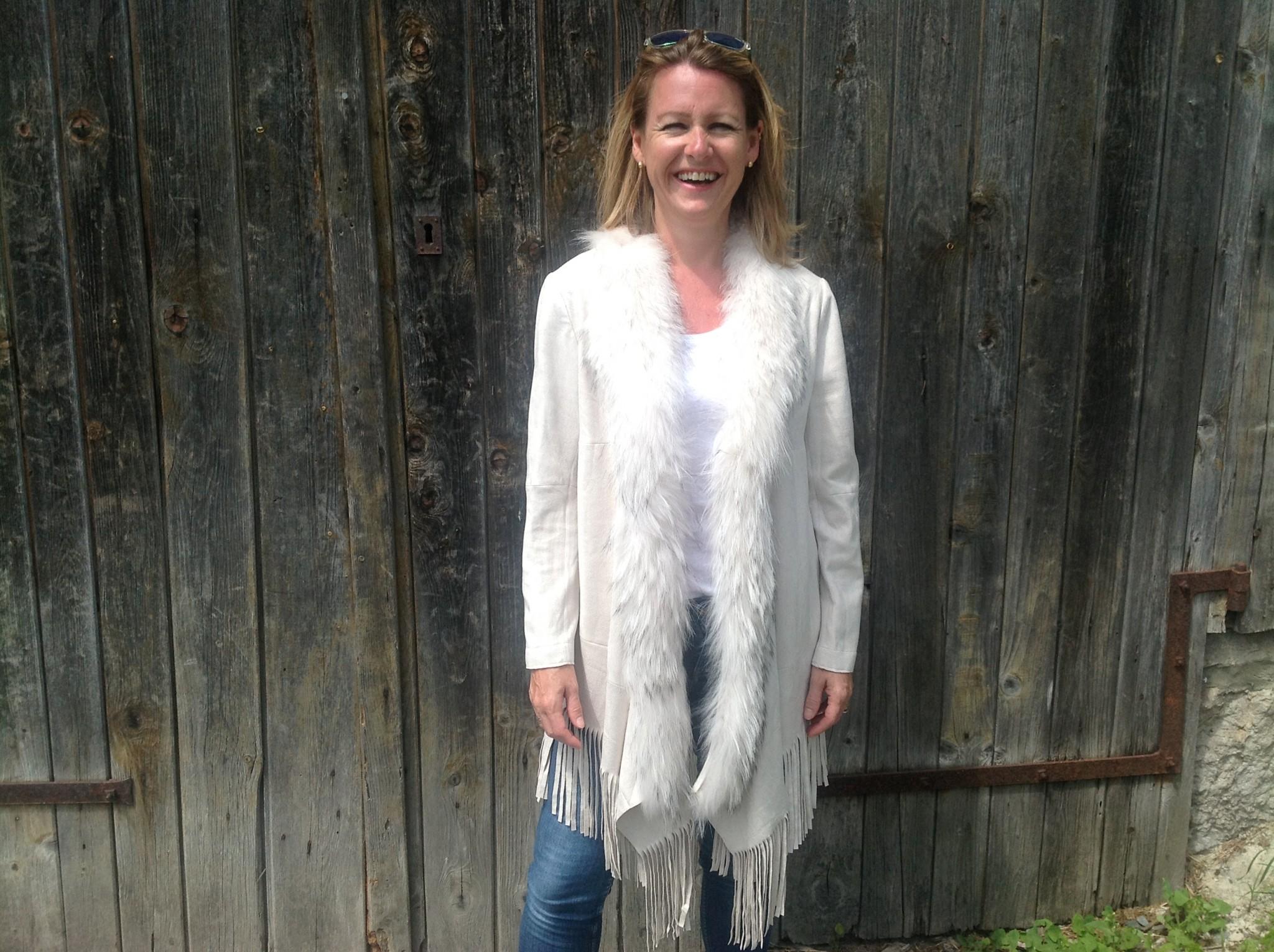 Cream faux suede coat