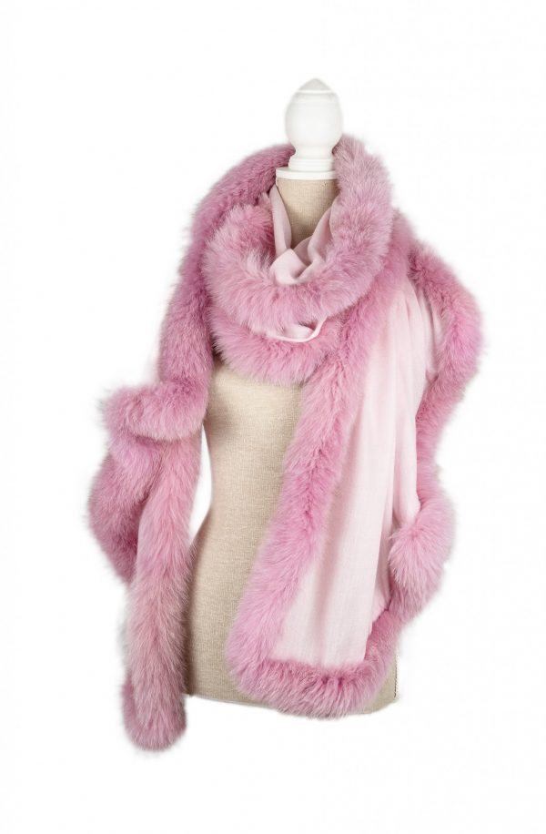 Our 'Sweetie' pink/fox cashmere wrap,, why not?!